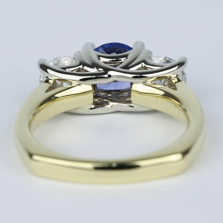 Trellis Diamond Engagement Ring with Sapphire Center Stone angle 4