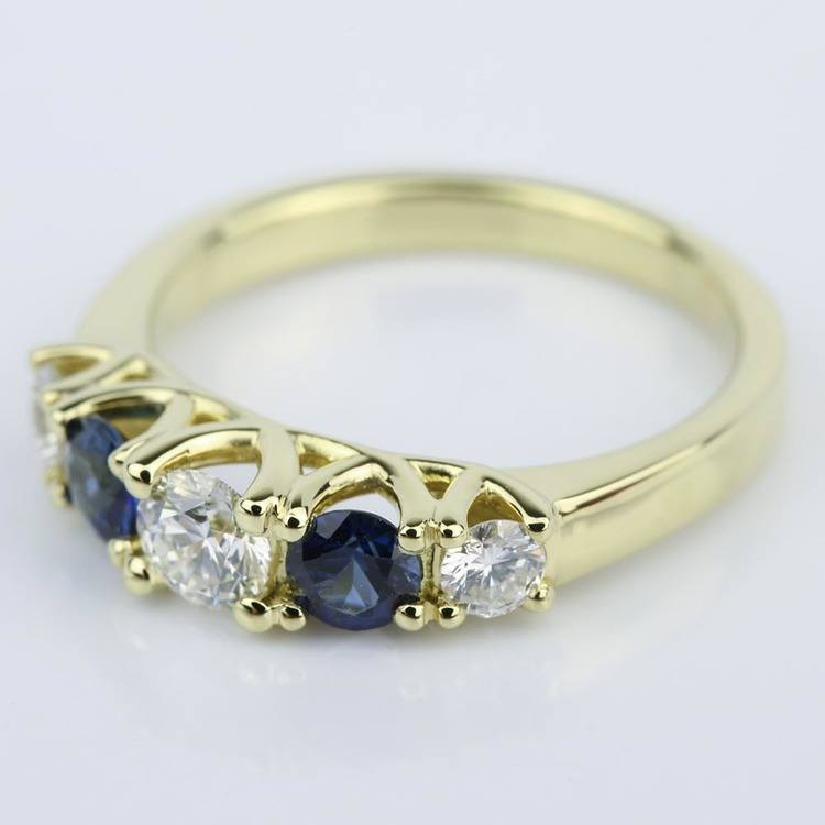 Trellis Sapphire and Diamond Gemstone Engagement Ring (0.32 ct.) angle 2