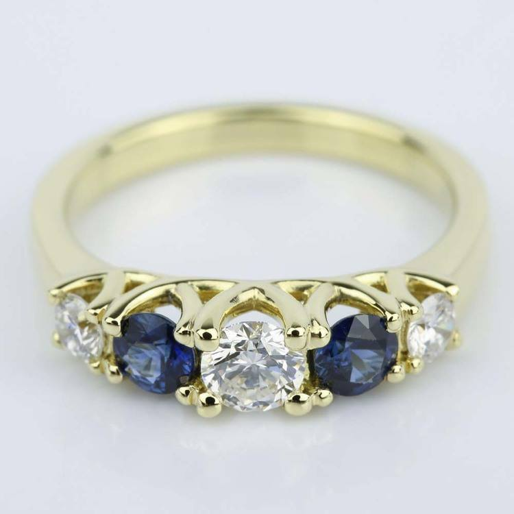 Trellis Sapphire and Diamond Gemstone Engagement Ring (0.32 ct.)