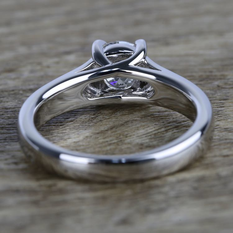 Trellis Solitaire Diamond Engagement Ring In White Gold (1 Carat) angle 4