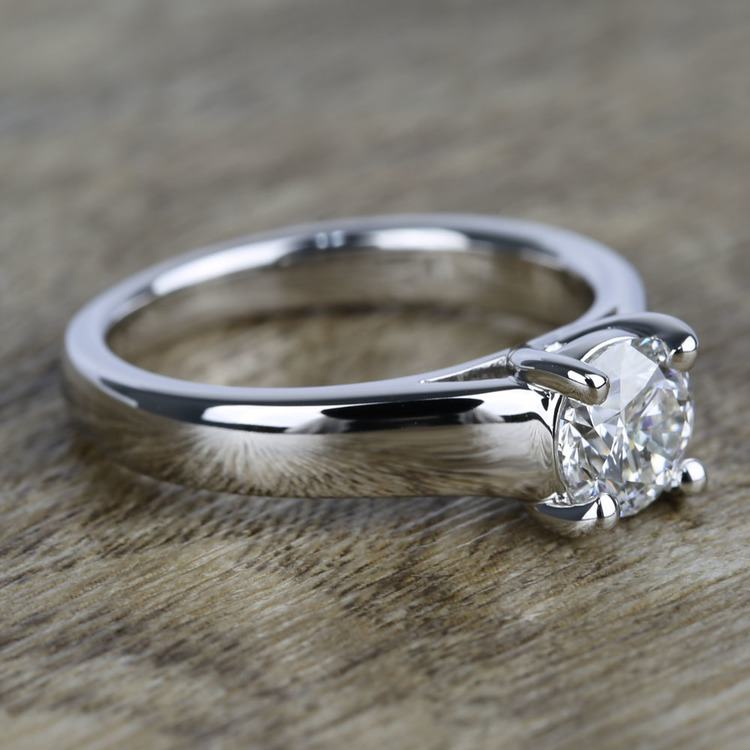 Trellis Solitaire Diamond Engagement Ring In White Gold (1 Carat) angle 3