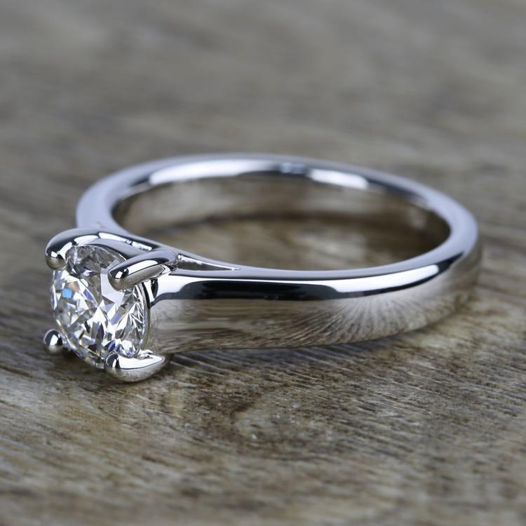 Trellis Solitaire Diamond Engagement Ring In White Gold (1 Carat) angle 2