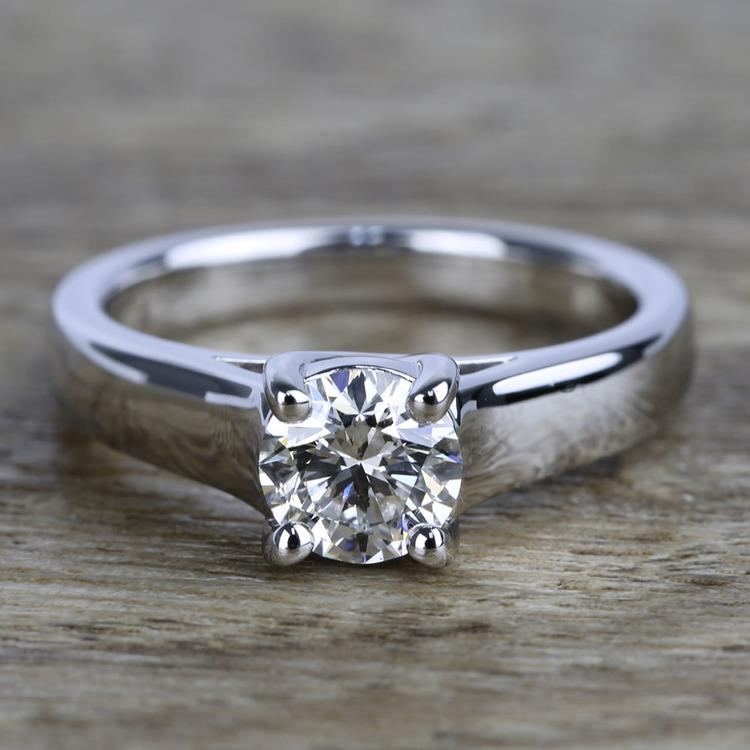 Trellis Solitaire Diamond Engagement Ring In White Gold (1 Carat)