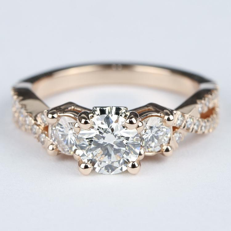 Three Diamond Engagement Ring with Cross Split Pave Shank
