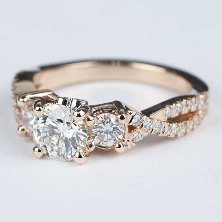 Three Diamond Engagement Ring with Cross Split Pave Shank angle 2