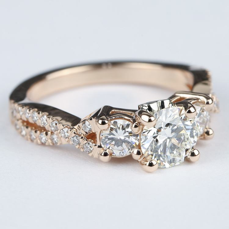 Three Diamond Engagement Ring with Cross Split Pave Shank angle 3
