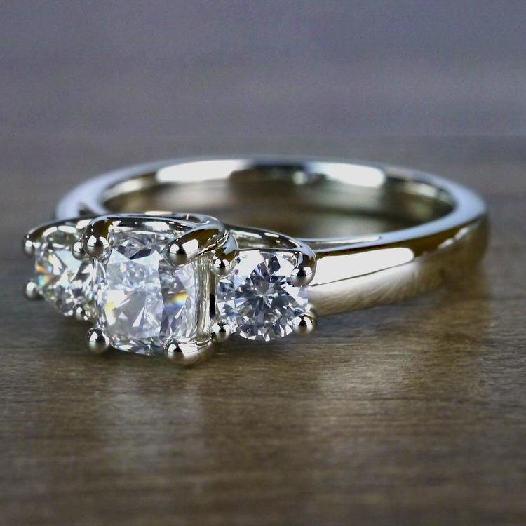 Trellis Three Diamond Cushion Engagement Ring angle 2