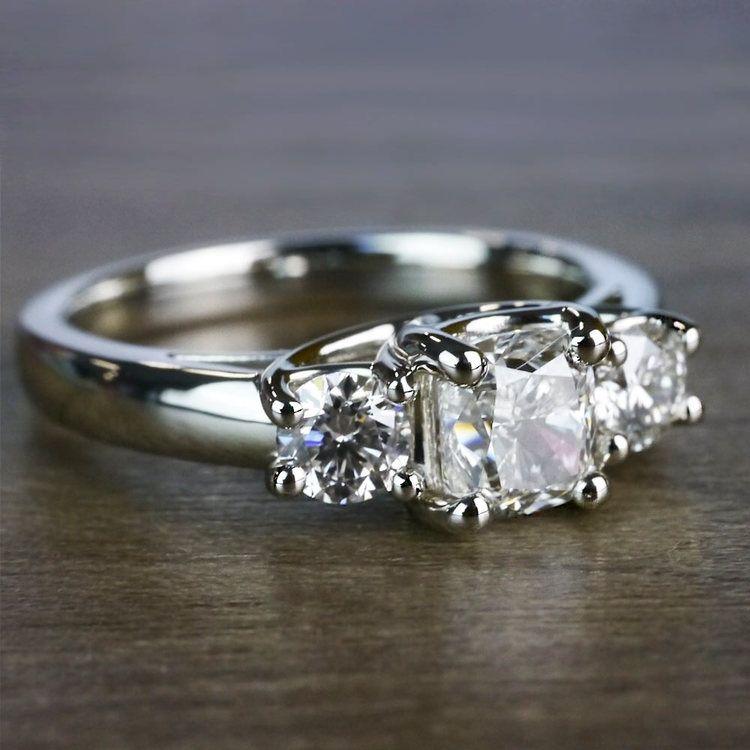 Trellis Three Diamond Cushion Engagement Ring angle 3