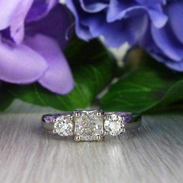 Trellis Three Diamond Cushion Engagement Ring angle 5