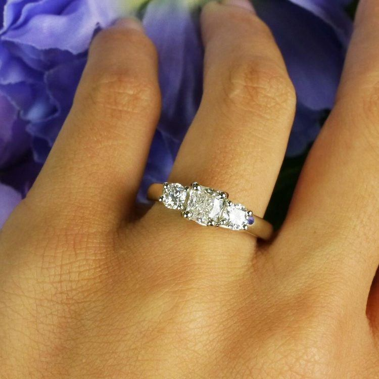 Trellis Three Diamond Cushion Engagement Ring | 06