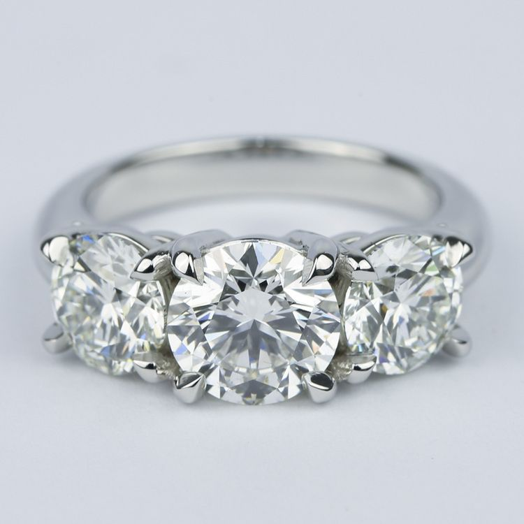 Three Diamond Engagement Ring with Open Gallery in Platinum