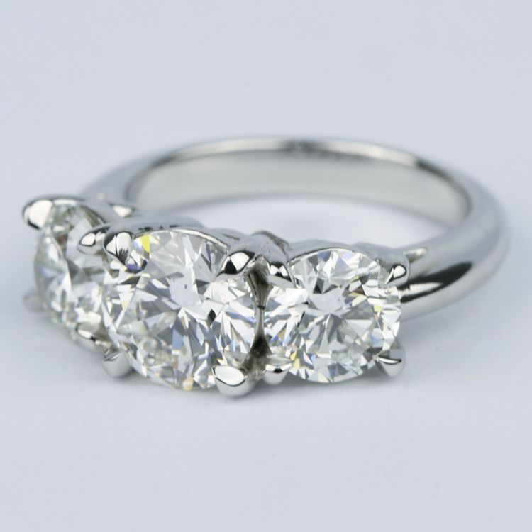 Three Diamond Engagement Ring with Open Gallery in Platinum angle 2