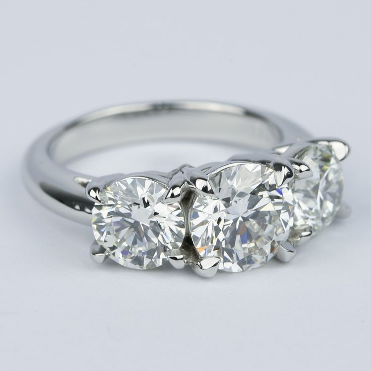 Three Diamond Engagement Ring with Open Gallery in Platinum angle 3