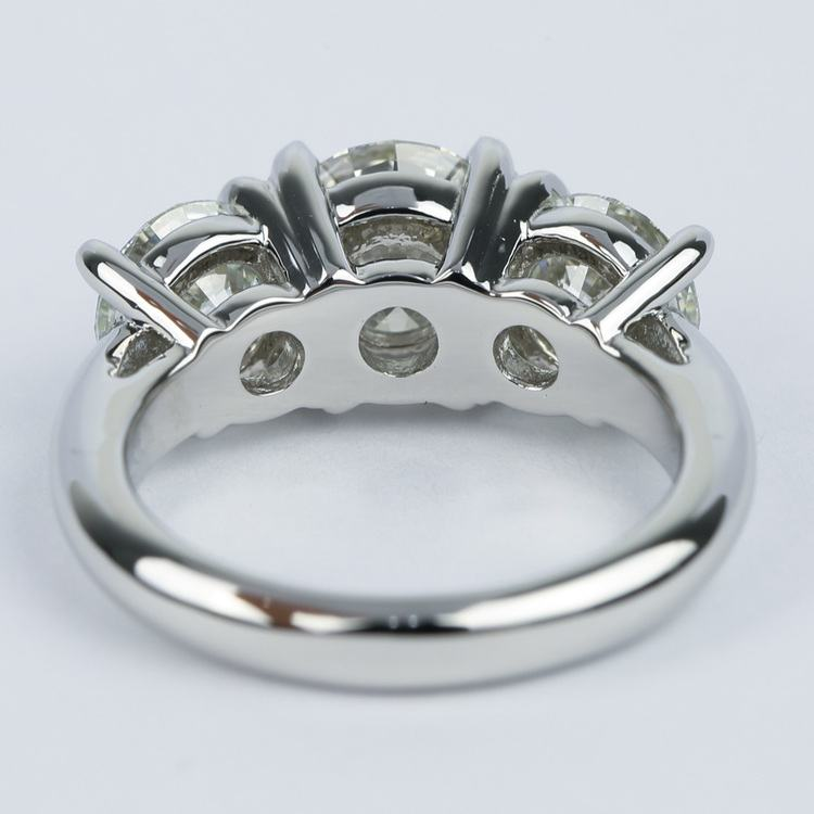 Three Diamond Engagement Ring with Open Gallery in Platinum angle 4