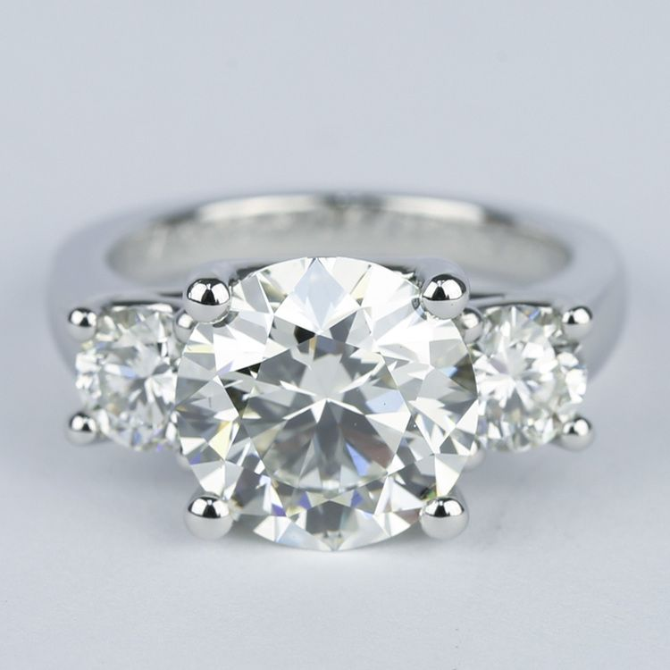Three Diamond Engagement Ring With Flawless Center Stone