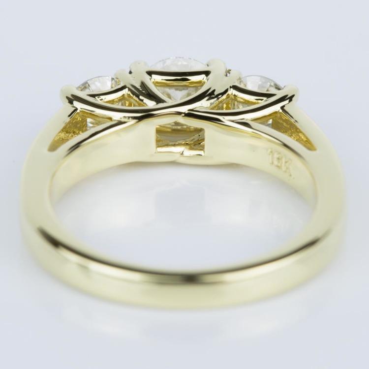 Trellis Three Diamond Engagement Ring in Yellow Gold (0.50 ct.) angle 4