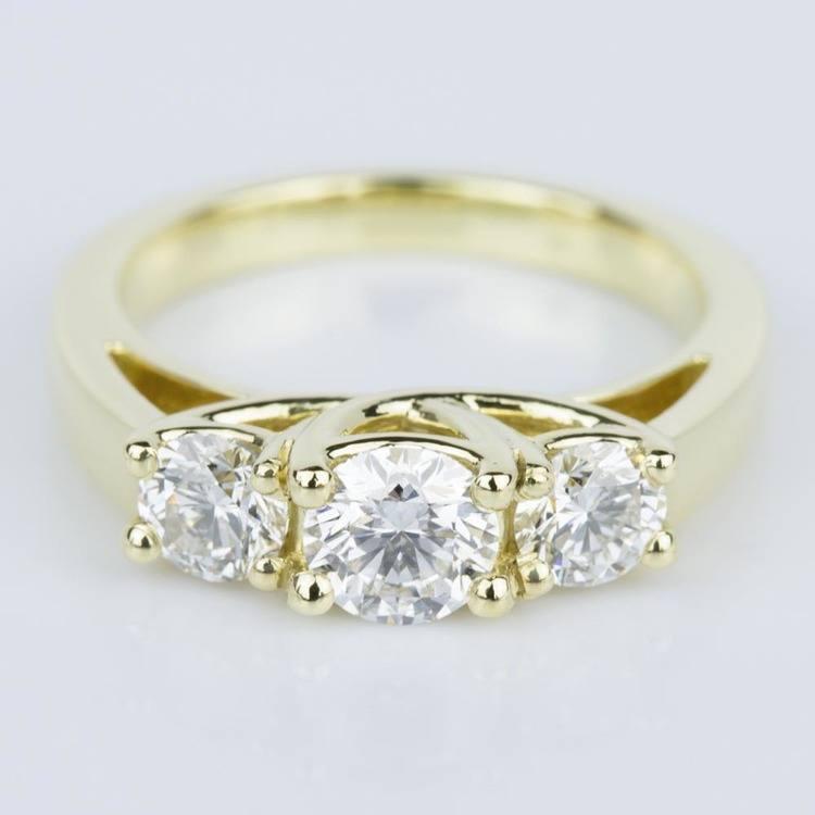 Trellis Three Diamond Engagement Ring in Yellow Gold (0.50 ct.)
