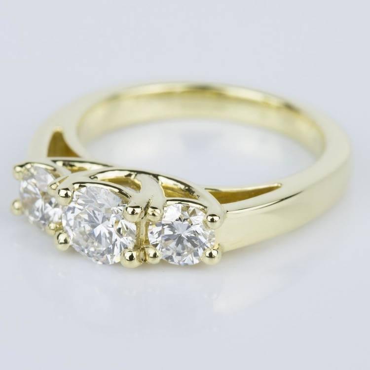 Trellis Three Diamond Engagement Ring in Yellow Gold (0.50 ct.) angle 2