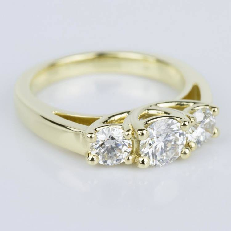 Trellis Three Diamond Engagement Ring in Yellow Gold (0.50 ct.) angle 3