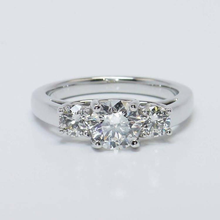 Three Round Trellis Diamond Engagement Ring (1 Carat)