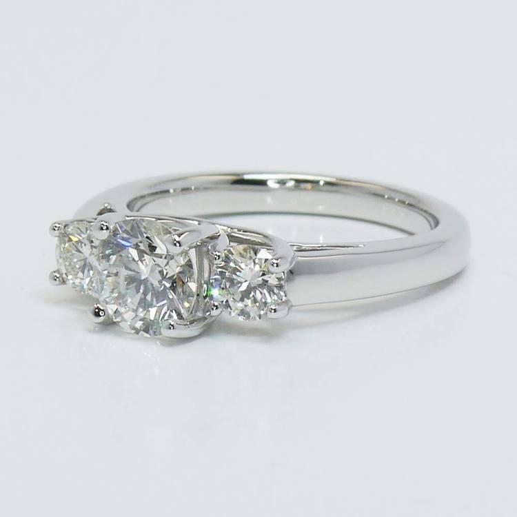 Three Round Trellis Diamond Engagement Ring (1 Carat) angle 2