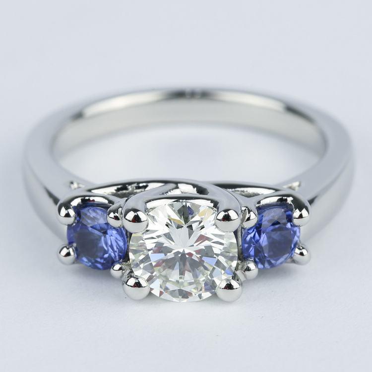 Trellis Three Stone Diamond Amp Sapphire Engagement Ring 1