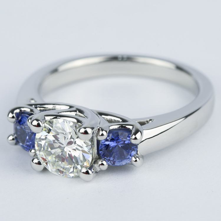Trellis Three-Stone Diamond & Sapphire Engagement Ring (1.19 ct.) angle 2