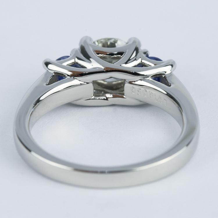 Trellis Three-Stone Diamond & Sapphire Engagement Ring (1.19 ct.) angle 4