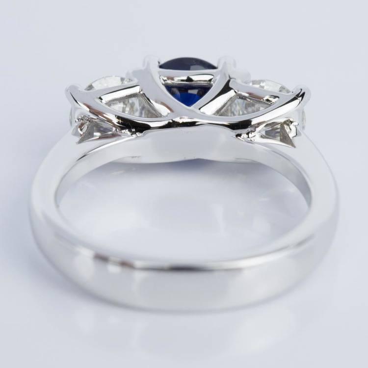 Trellis Three Stone Sapphire & Diamond Engagement Ring in White Gold angle 4