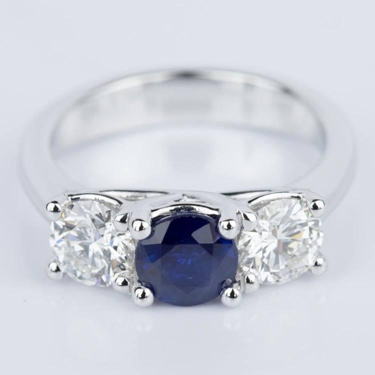 Trellis Three Stone Sapphire & Diamond Engagement Ring in White Gold