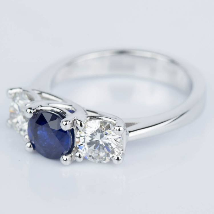 Trellis Three Stone Sapphire & Diamond Engagement Ring in White Gold angle 2