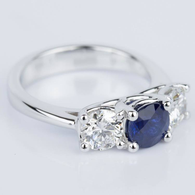 Trellis Three Stone Sapphire & Diamond Engagement Ring in White Gold angle 3