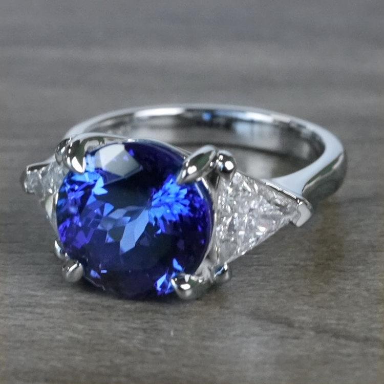 Tremendous 5 Carat Tanzanite Gemstone Custom Ring angle 2