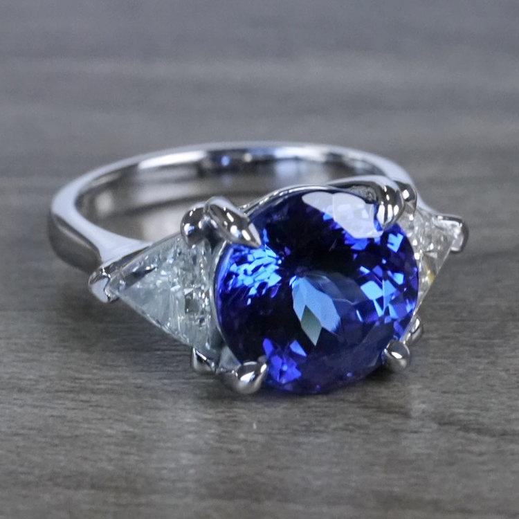Tremendous 5 Carat Tanzanite Gemstone Custom Ring angle 3