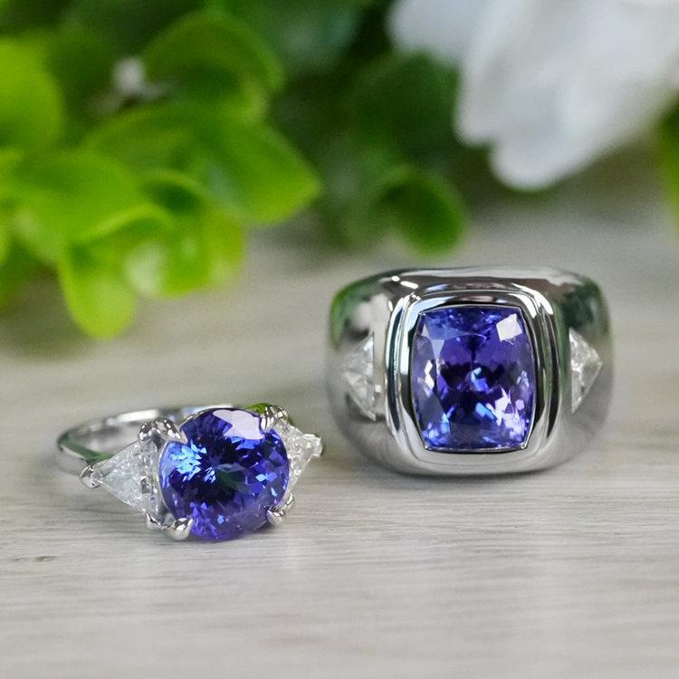 Tremendous 5 Carat Tanzanite Gemstone Custom Ring angle 5