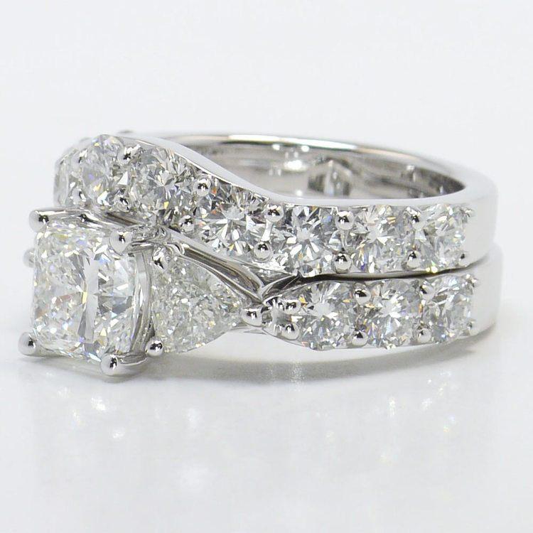 1.71 Carat Princess & Trillion Custom Diamond Engagement Ring angle 2