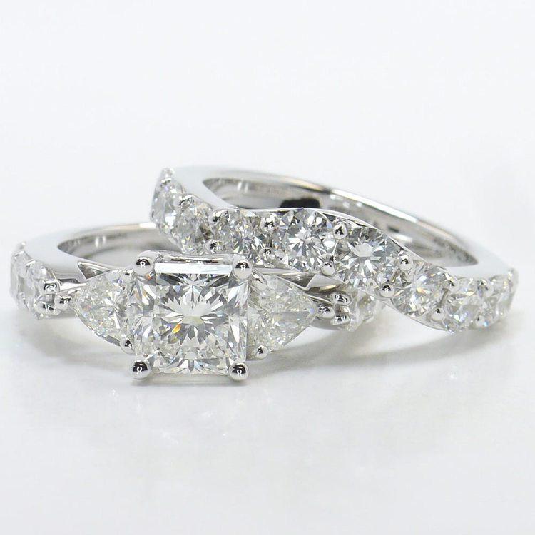 1.71 Carat Princess & Trillion Custom Diamond Engagement Ring