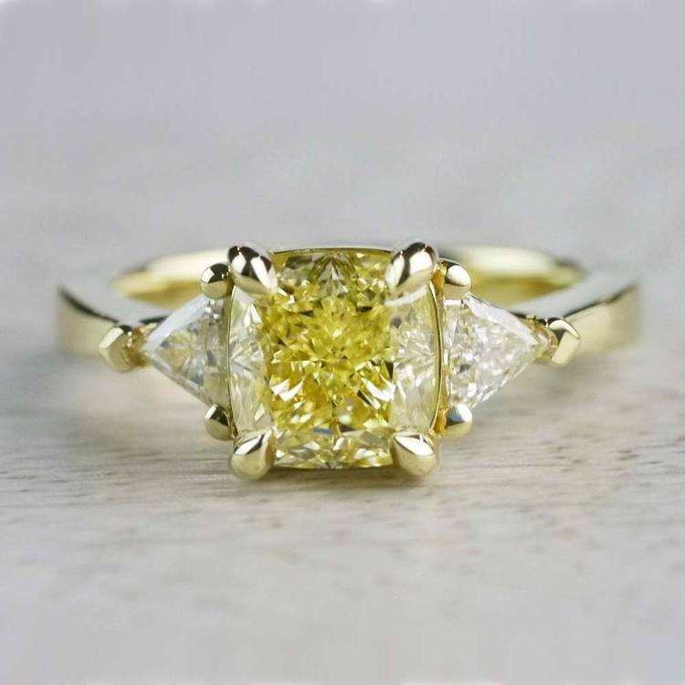 Fancy Light Yellow Diamond Engagement Ring In Yellow Gold
