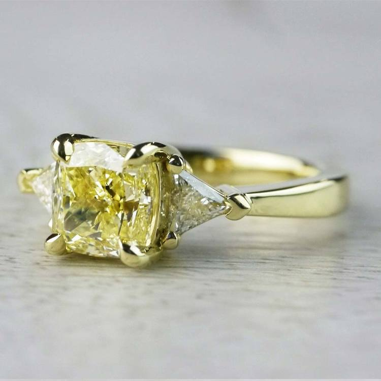 Fancy Light Yellow Diamond Engagement Ring In Yellow Gold angle 2
