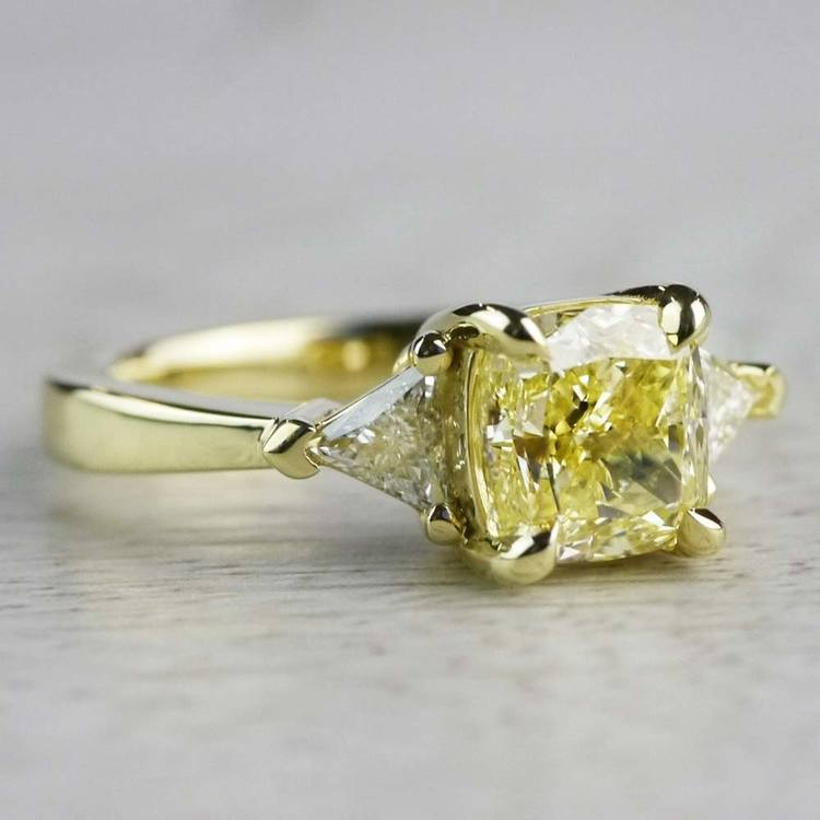 Fancy Light Yellow Diamond Engagement Ring In Yellow Gold angle 3