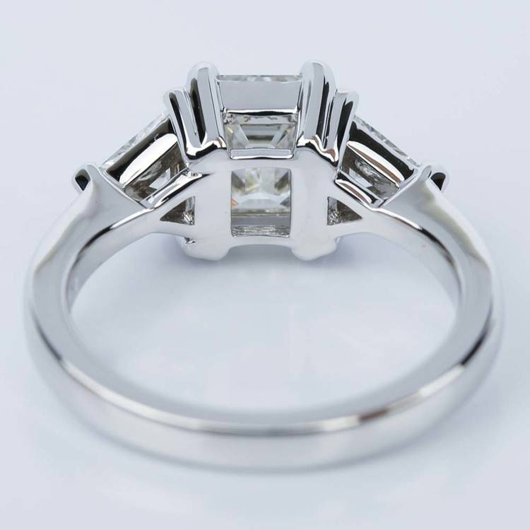 Trillion Emerald Diamond Engagement Ring in White Gold (1.01 ct.) angle 4