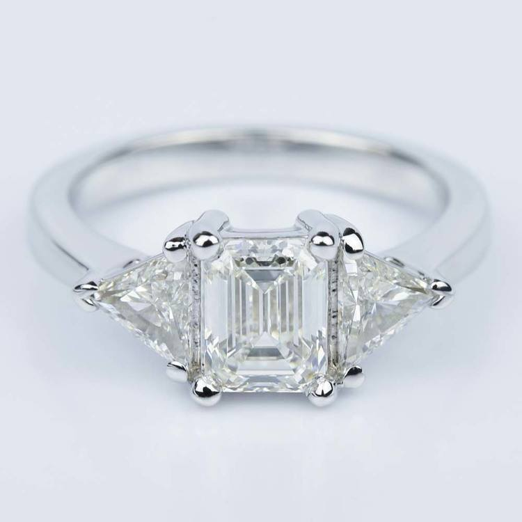 Trillion Emerald Diamond Engagement Ring in White Gold (1.01 ct.)