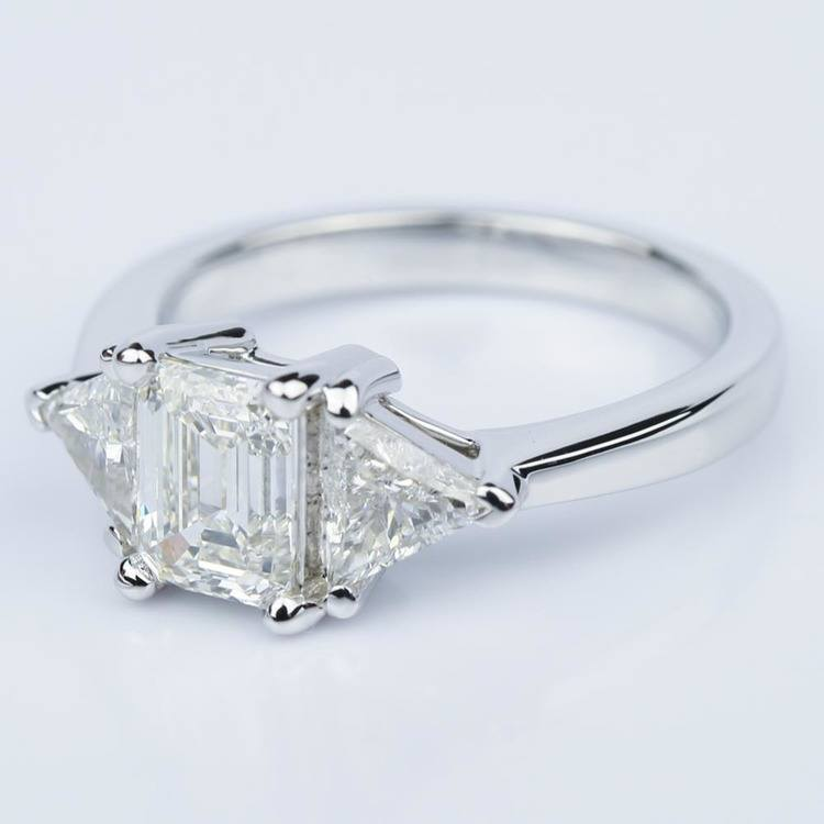 Trillion Emerald Diamond Engagement Ring in White Gold (1.01 ct.) angle 2