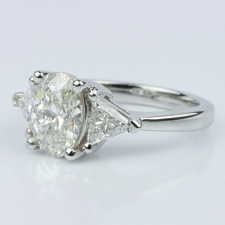 Trillion & Oval Diamond Engagement Ring (1.51 ct.) angle 2