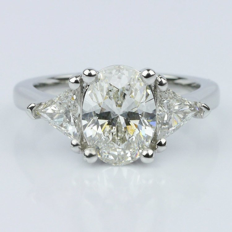 Trillion & Oval Diamond Engagement Ring (1.51 ct.)