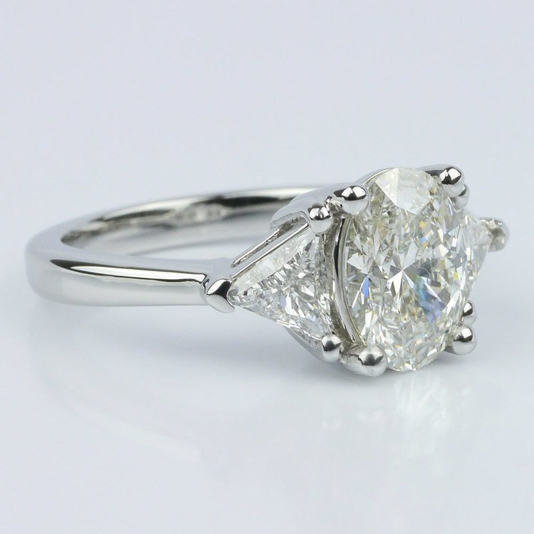 Trillion & Oval Diamond Engagement Ring (1.51 ct.) angle 3