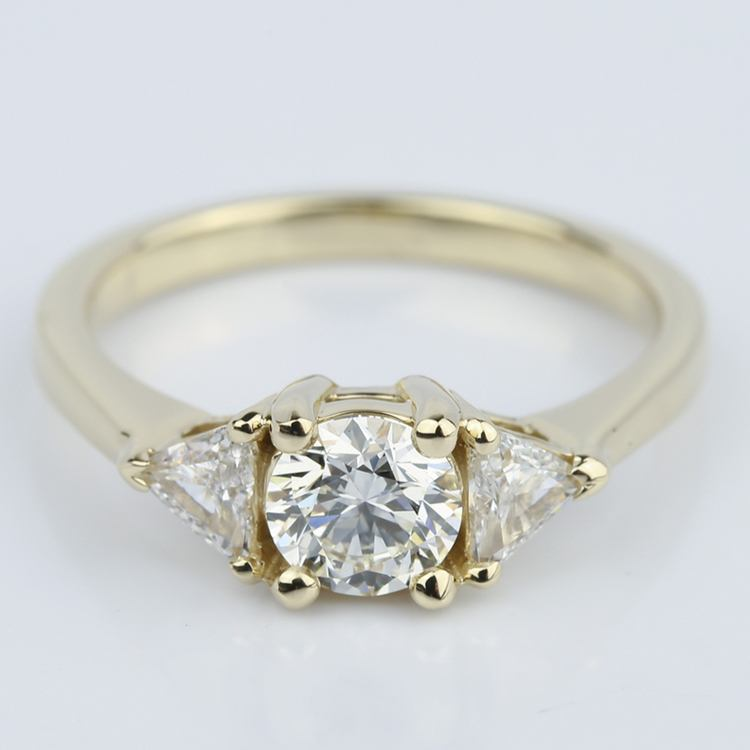Trillion Three-Diamond Engagement Ring in Yellow Gold (0.72 ct.)