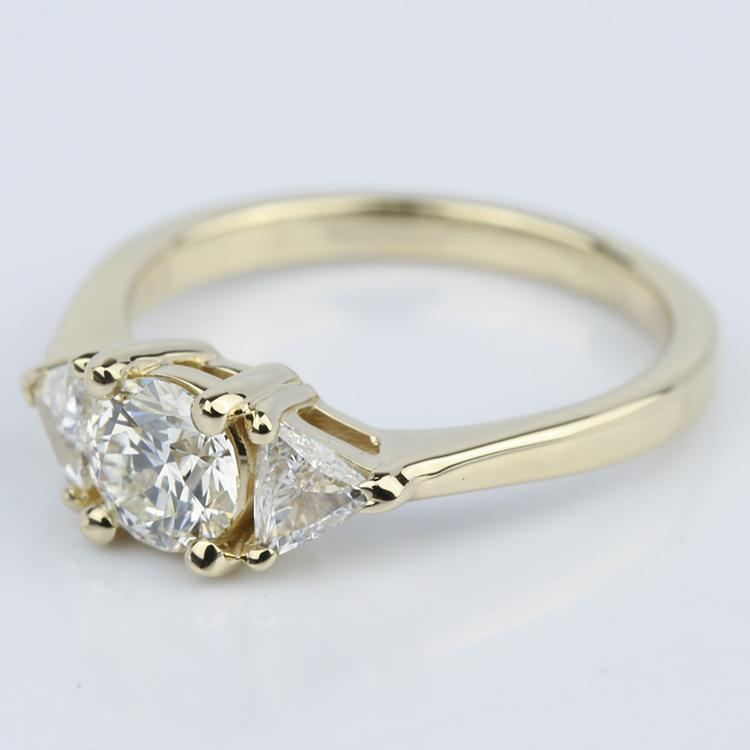 Trillion Three-Diamond Engagement Ring in Yellow Gold (0.72 ct.) angle 2