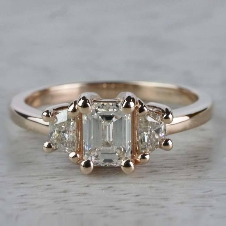 Splendid Regal Rose Gold Emerald Cut Diamond Ring