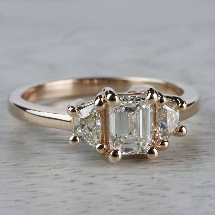 Splendid Regal Rose Gold Emerald Cut Diamond Ring angle 3
